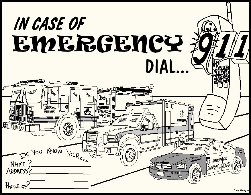 Call 911 Coloring Pages Sketch Coloring Page 911 Emergency Coloring Pages